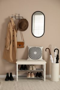 Stylish,Storage,Bench,With,Different,Pairs,Of,Shoes,Near,Beige